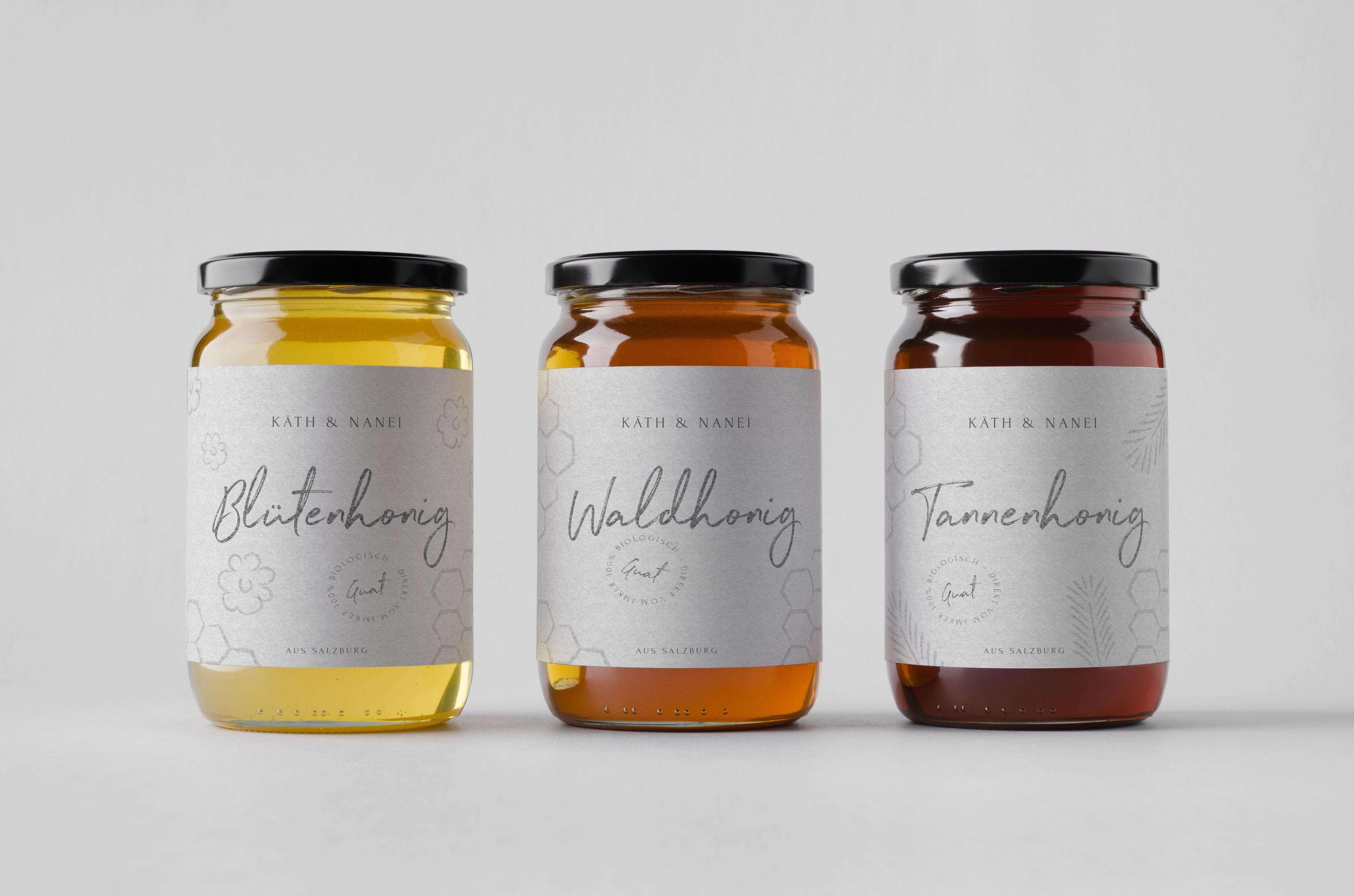 Honey Jar Mock-Up – Three Jars. Blank Label